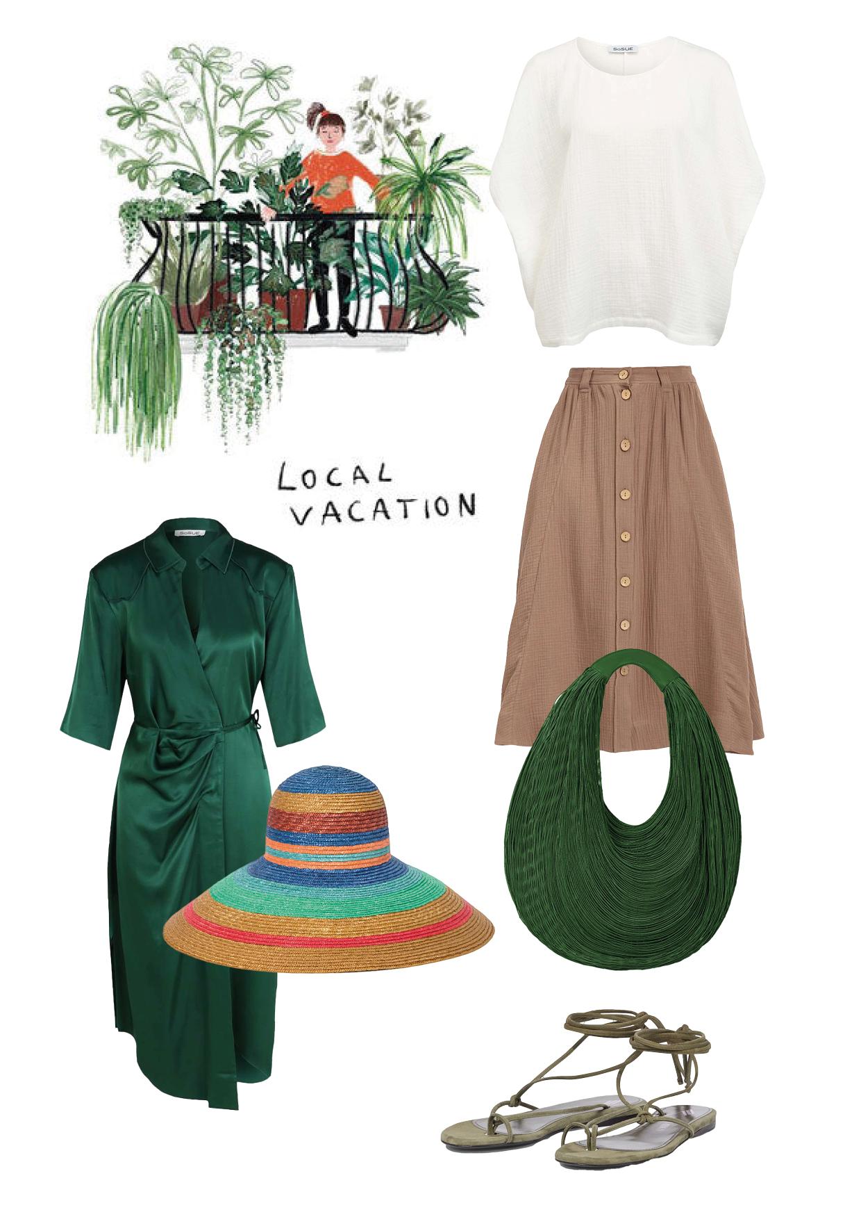 Kleid: SoSUE Wrap Dress Rock: SoSUE Rock Safari Mud Bluse: SoSUE Cowboy Waffle Sandalen: The Attico Hut: Missoni Mare Tasche: Mariana Mendez