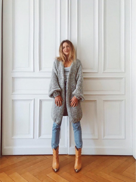 Merino Cardigan Long - Grey