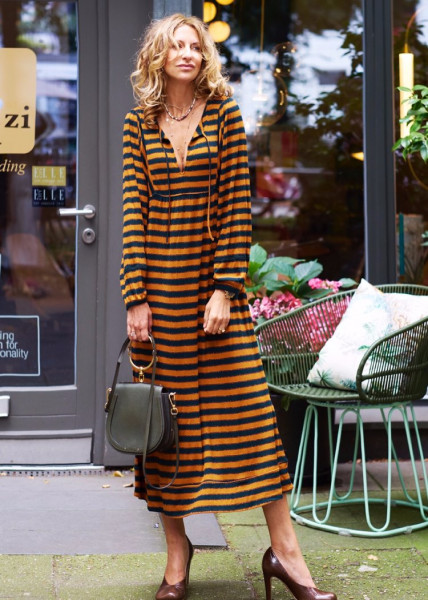 Kleid Hippie - Orange Grün