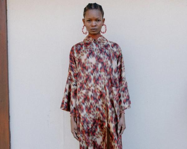 Seidenkleid- Rot Print