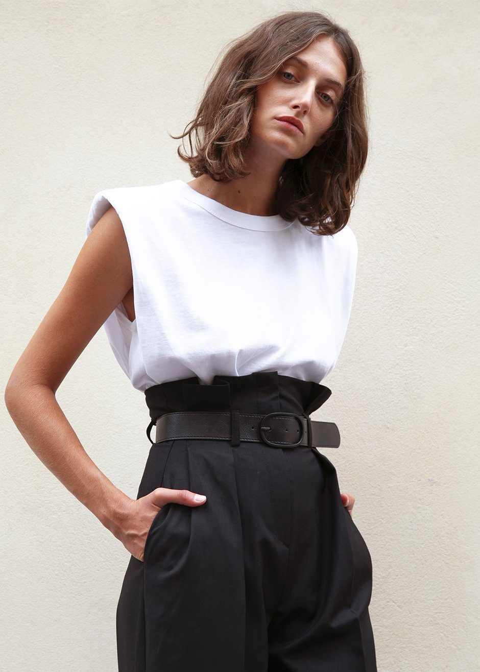 Eva Padded Shoulder Muscle T-Shirt in White $75.00