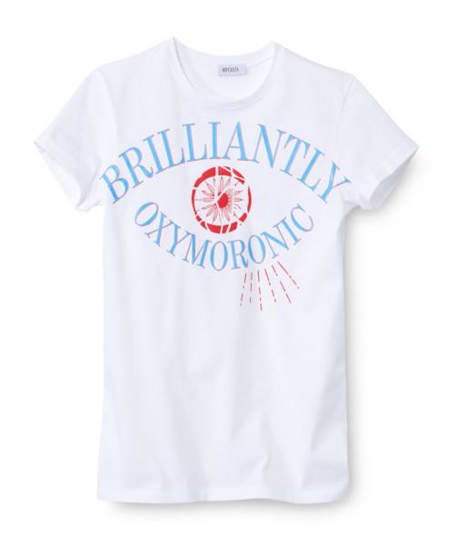 Hipolyta - Weißes Shirt mit Druck/Blau