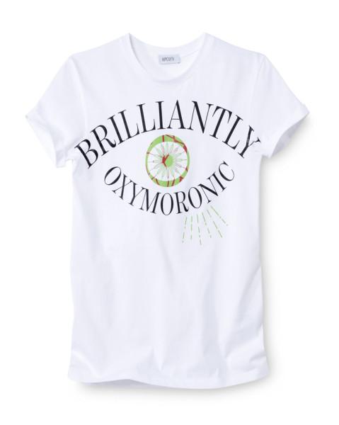 Hipolyta - Weißes Shirt mit Druck/Apfelgrün