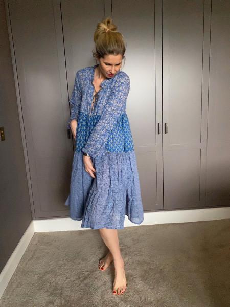 Yvonne S. Dress - Blue Original Flower