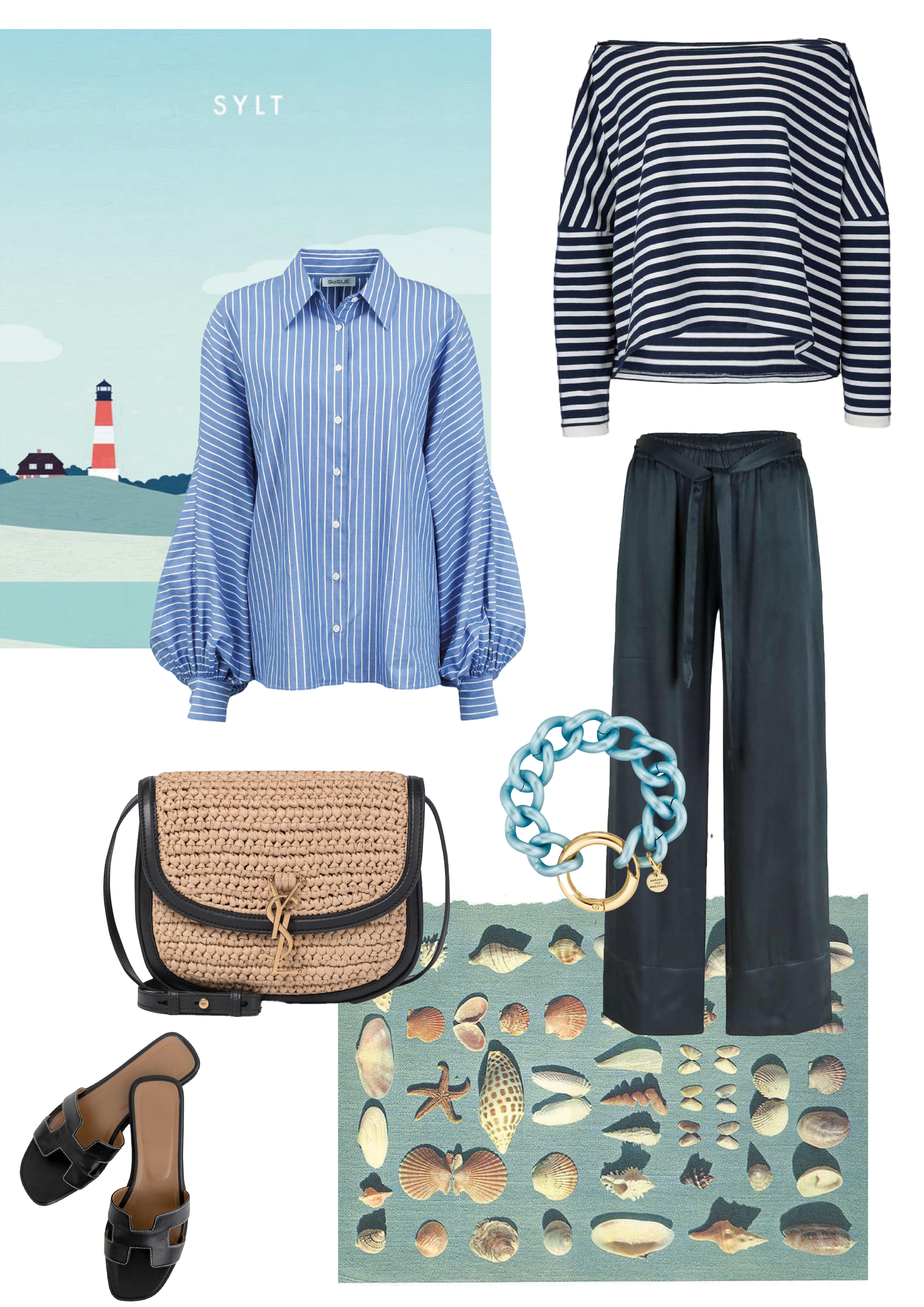 Bluse: SoSUE Antonia Stripes Shirt: SoSUE Sailor Shirt Hose: SoSUE PJ Pants Sandalen: Hermes Tasche: Saint Laurent Schmuck: Marjana von Berlepsch