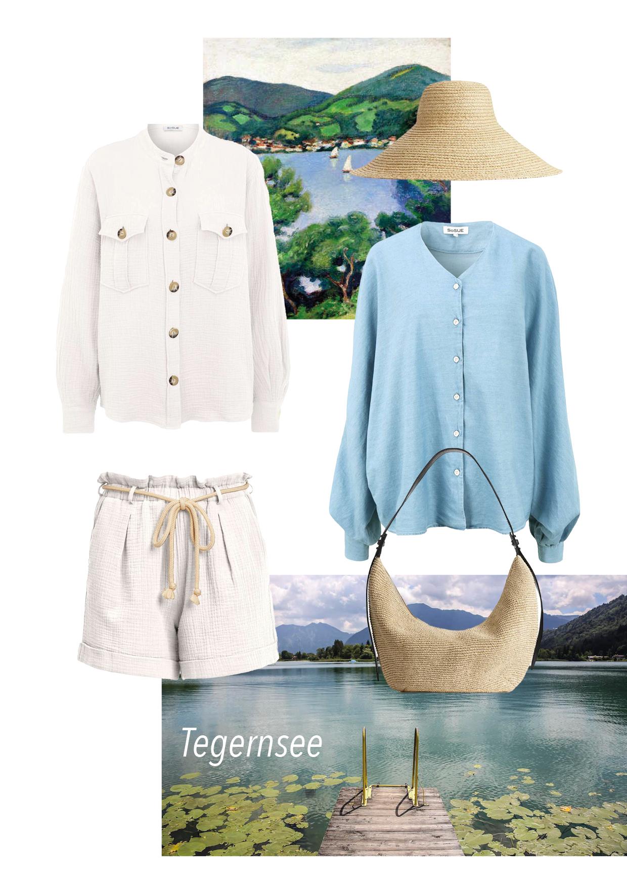 Hemd: SoSUE Shirt Ems Shorts: SoSUE Waffle Shorts White Bluse: SoSUE Antonia V-Neck Denim Tasche: Arket